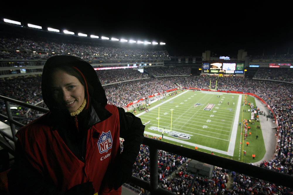 A very cold @LittleLauraHeald atop a scoreboard at Gillette Stadium for the AFC divisional playoff game against the Jacksonville Jaguars on January 12, 2008.