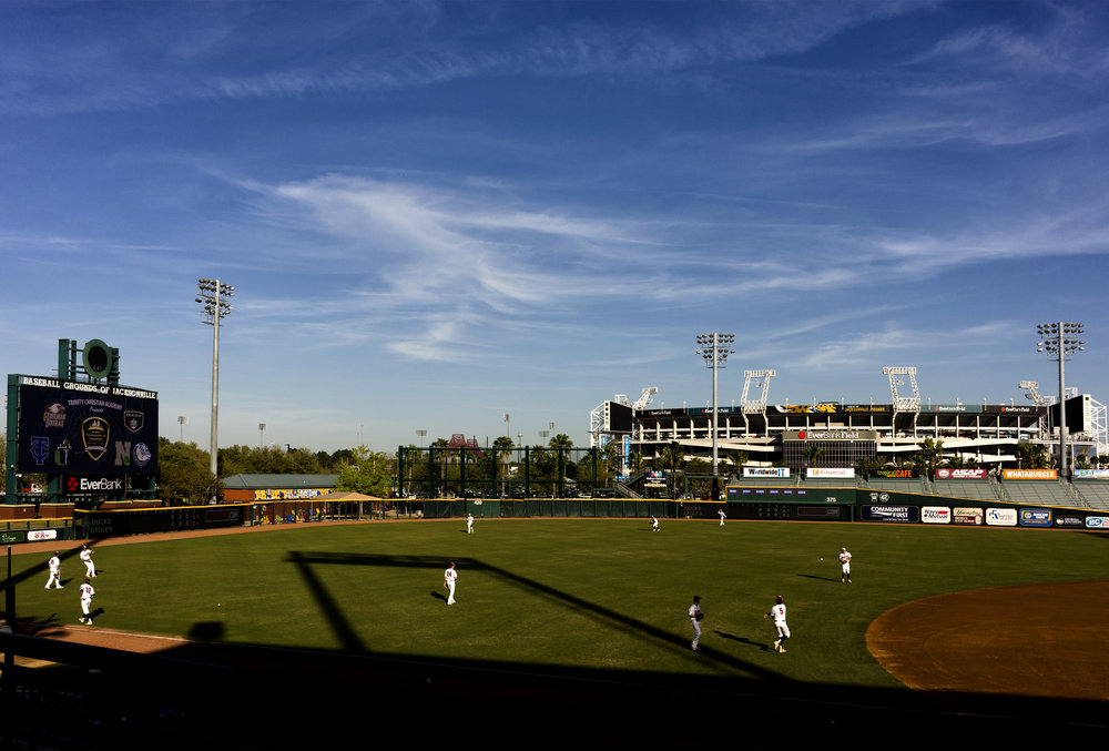 The Marjory Stoneman Douglas Eagles warm up at the Baseball Grounds of Jacksonville.