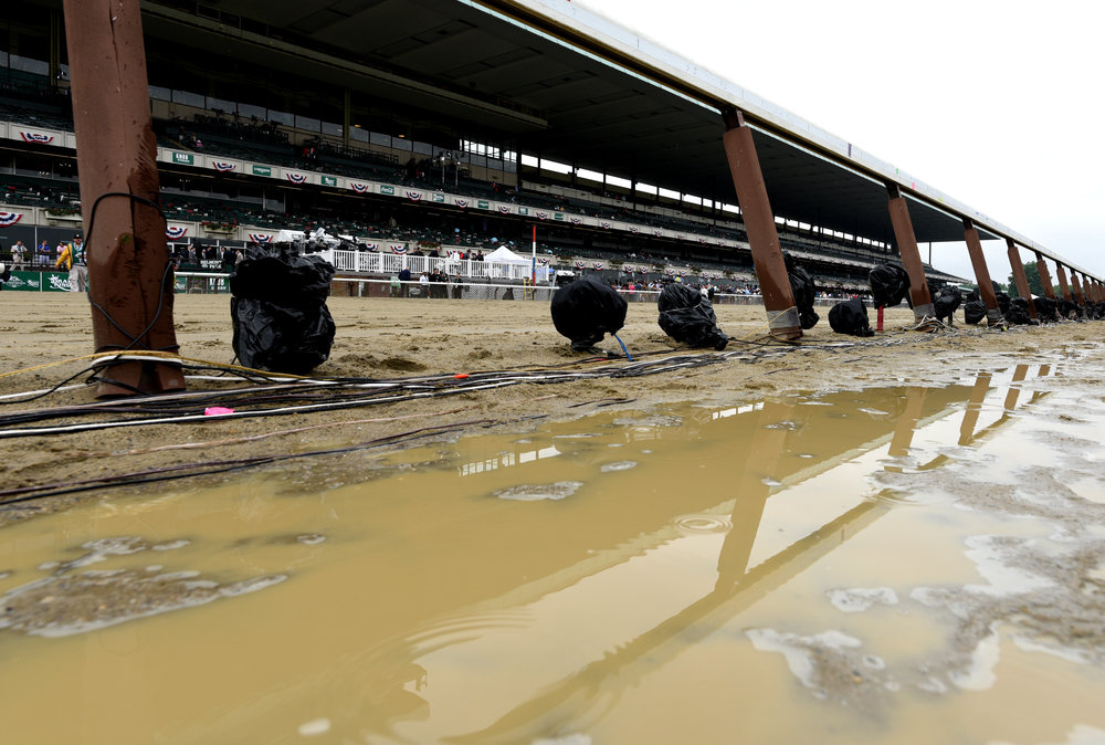 The track at Belmont Park on June 6, 2015, the morning of the 147th running of the Belmont Stakes. By race time, the track was dry and sky blue.