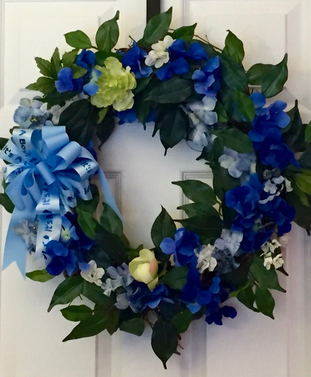 Custom Made Silk Wreath To Welcome Your New Baby Boy Custom Silk