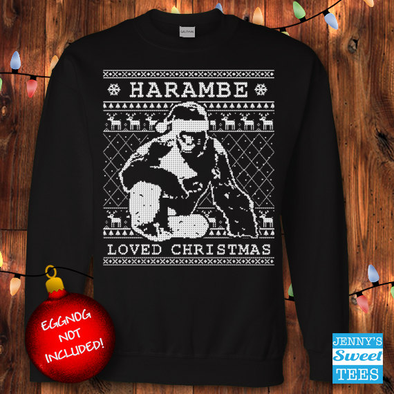 harambe loved christmas harambe sweater ugly christmas sweater stars hollow style