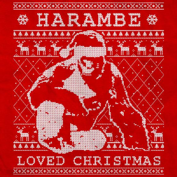 harambe loved christmas harambe sweater ugly christmas sweater