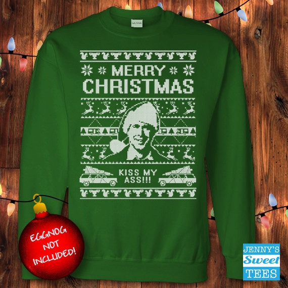 ugly christmas sweater kiss my ass christmas vacation clark griswold sweatshirt c11 - Griswold Ugly Christmas Sweater