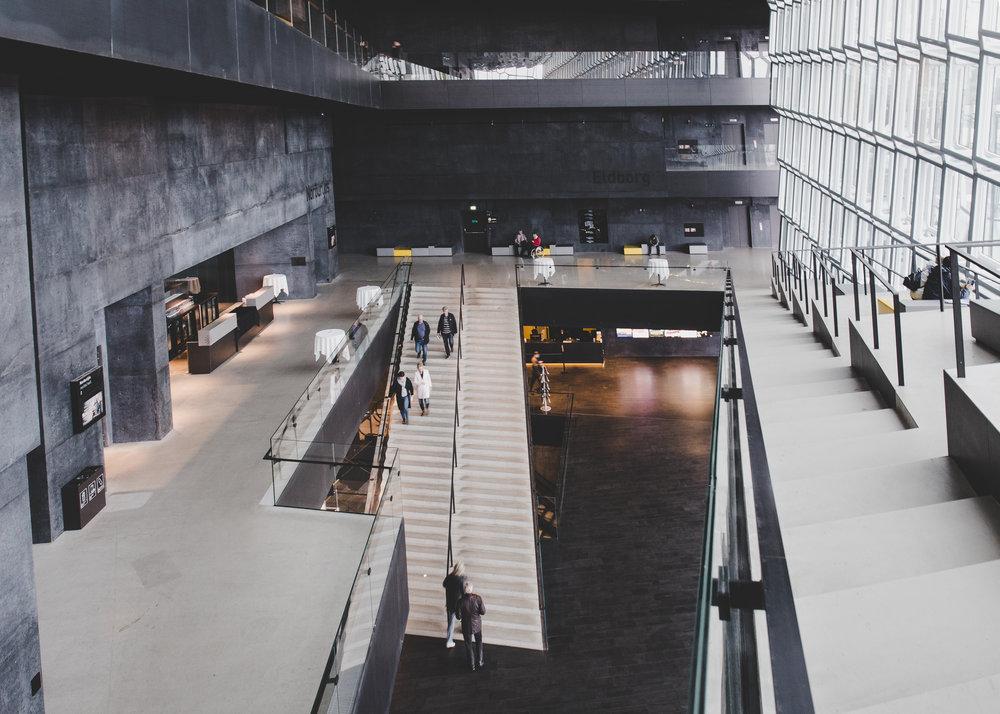 Atrium inside the Harpa concert hall
