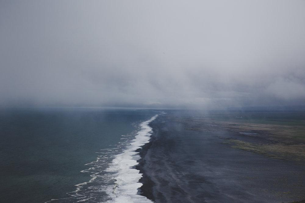 Black sand beach from the top of Dyrhólaey