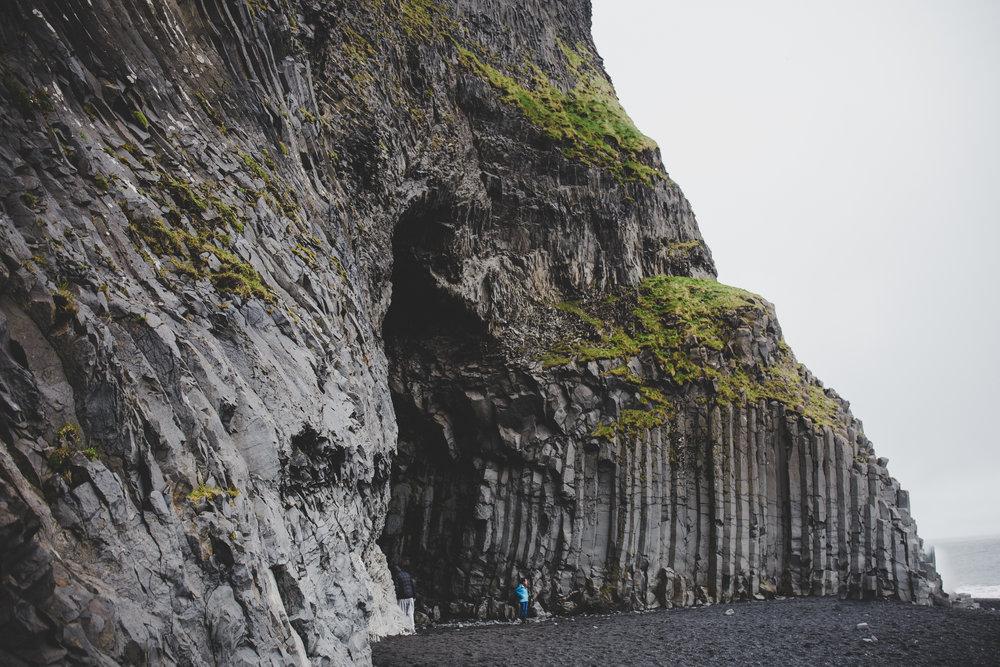 Basalt columns on the black sand beach