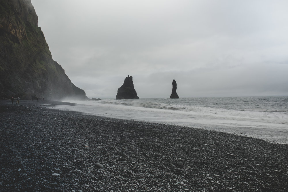 View of Reynisdrangar from black sand beach