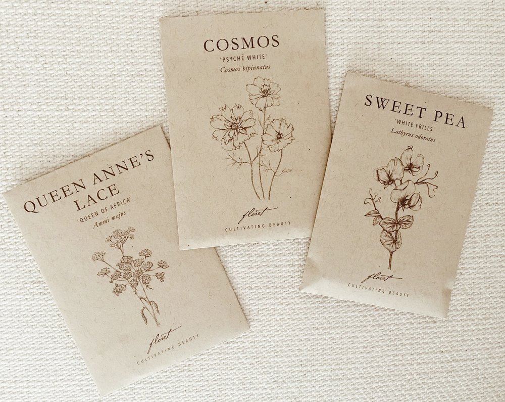 ARGUABLY THE PRETTIEST SEED PACKETS EVER FROM FLORET FARMS.