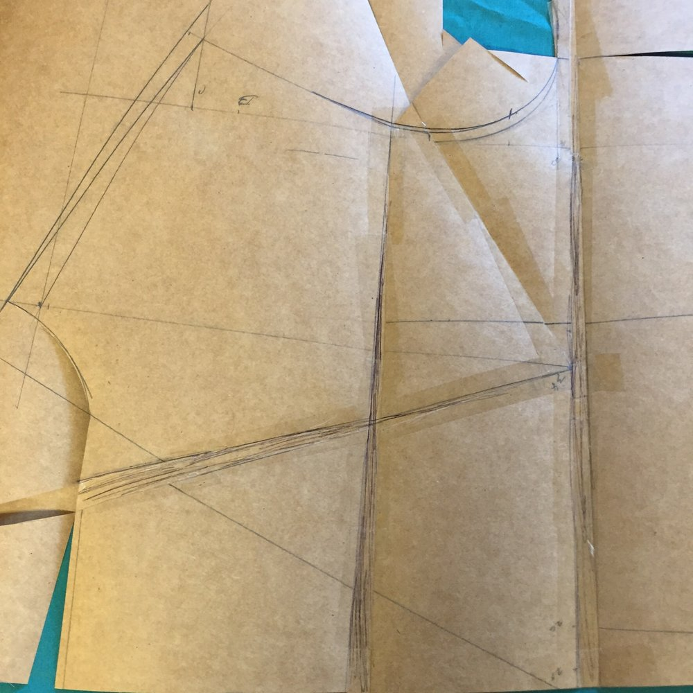 Opening the pattern gives the very necessary round length to the front. Also the chest dart.