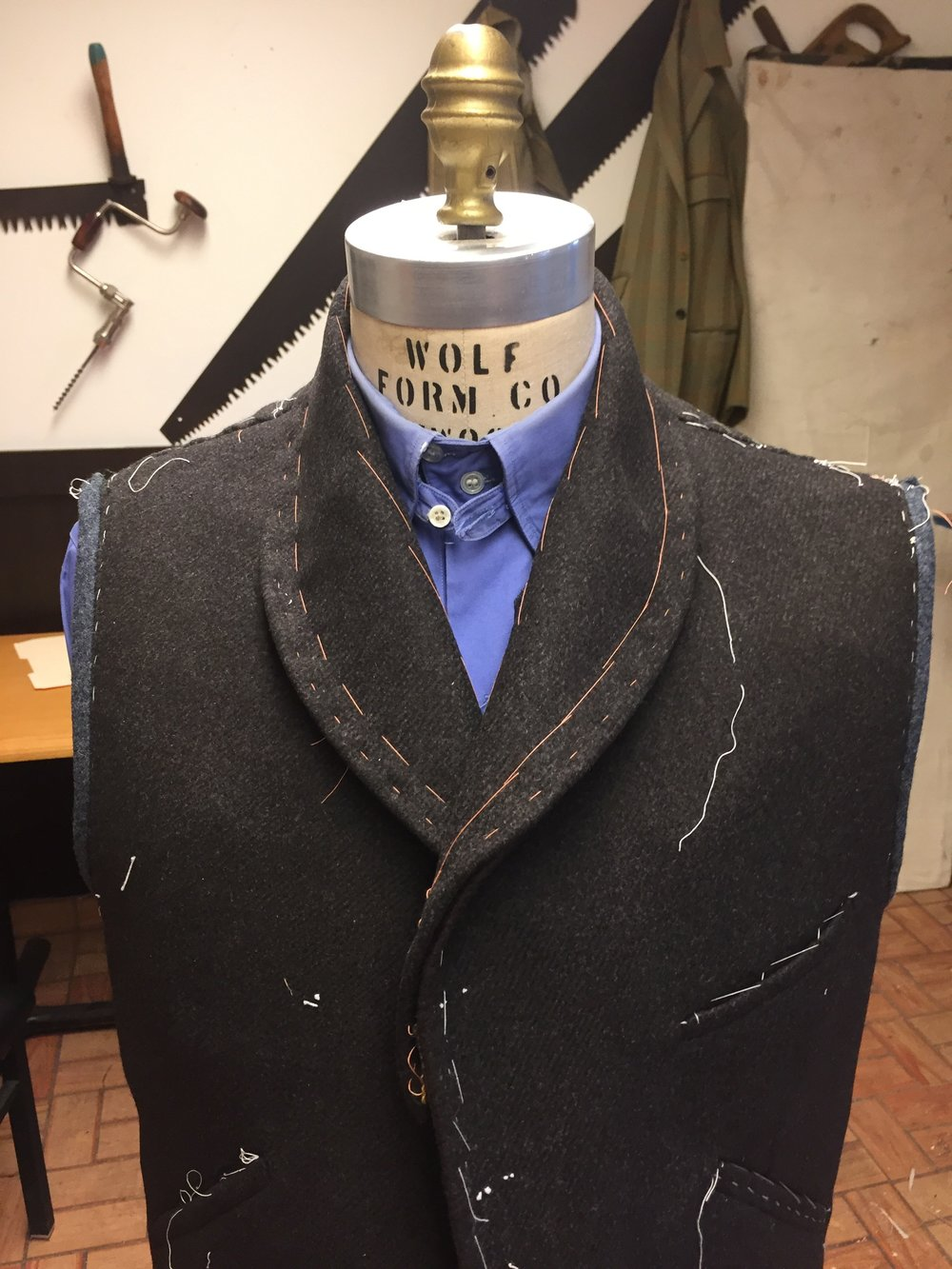 This vest must be made from the coat pattern. The collar will not set like it should using a vest pattern. At least I could not figure it.