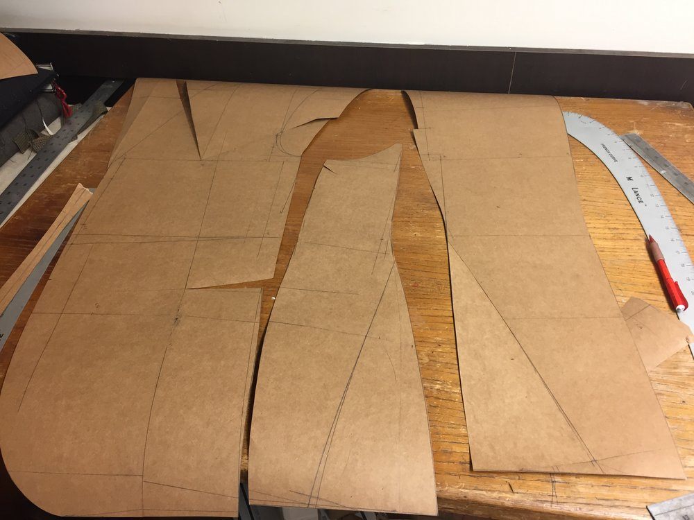"The beautiful Henry Stewart pattern draft. See the side body shape. Very forward.        As you can see I started the Mitchell system chest dart but ran out of scotch tape.     Stay tuned for the old school way to manipulate the pattern for a very erect and forward coat front. Also for a ""strong"" back."