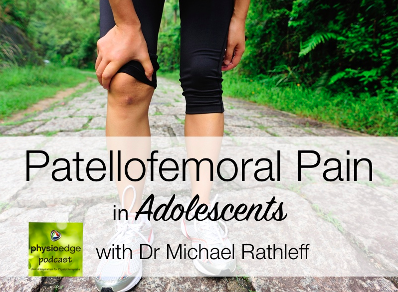 "What have we listened to lately?    Patello Femoral Pain!    The David pope Physioedge PODcast with  Dr Micheal Rathleff talking about adolescent patellofemoral knee pain, which has a prevalence of 6 to 7%.    Here is our summary:    Two thirds of the population do sports five times per week and often do the sports with pain. This group (adolescents) has usually been doing one sport their entire life and has had pain on and off. The other third of the population are adolescents who do not play sports at all. This group often are going from primary secondary school and encounter a lot of stairs or increased amounts of activity which is believed to contribute to the condition.  So the majority are increased intensity or frequency of load whereas the other one is increased load only.   For the first group, playing in identifying with the sport is part of their social network and they would rather play with pain than be excluded.   One of the questions was ""is there a different treatment protocol for each group""?     The short answer is no.  Many times and adolescent in the ""overuse"" group is given additional exercises. Often this just contributes to increasing load. Education appears to be key in the rehab process. Males with the shortest duration of pain and lowest intensity seem to be the best responders to this program. Females with longest duration and highest intensity of pain seem to respond the least.  Not surprisingly, compliance with treatment protocol can be difficult with a teenager. In a recent RCT that they performed, 55% of folks that did their exercises three times per week were recovered in one year whereas those that did less were at 20%.  These statistics are often put on the chart, laminatedand shown to the patients. This seems to improve compliance.  Another chart is made with these bullet points:    Low hip strength  low quadricep strength  different movement pattern.    The anatomy is then shown and explained to the patient and an attempt is made to tie it all together.     Differentiation is made between:  patellofemoral pain ,  Osgood-Schlatter's  disease, and  patellar tendinopathy . The differentiating factors are with  patellofemoral pain, the pain is diffuse ; with  Osgood-Schlatter's it's located over the tibial tuberosity  and with  patellar tendinopathy it is more at the inferior patellar pole.   Differentiation is always made between  Sinding-Larsen-Johannsen disease  and the others by the fact that this is mostly pain at the inferior patellar pole and relatively rare and adolescent population.  Differentiation between patellofemoral pain and Osgood-Schlatter's disease usually involves the latter having locking in addition to pain. These conditions are usually confirmed with ultrasound or MRI.  There don't appear to be specific reliable tests to rule in patellofemoral pain so the process becomes one of ruling out.  Palpation in the diagnostic process of course please large role. Also specific localization by the patient can be helpful. Dimension and ""app"" that the patient can draw on to show the examiner where the knee pain is. We really like this idea.   Exclusionary tests include the  patellar fat pad compression test , but it is emphasize that this is more generalized rather than specific to the Tele femoral pain and a brief discussion as to its anatomy ensues.   Treatment includes 3 main steps   patient education as to activity limitations.   Patient refrains from activities a check of the pain for approximately four weeks and then his gradually reintroduce as long as they can keep their VAS scores below three.   Exercise can begin at the four-week timeframe, again depending upon the patient's symptoms. A gentle progression with pain as a guide is advised with a return to activity previous activity as early as 5 to 6 weeks. Frequency of training is increased first and then duration of training.   Exercise initially is confined to the more proximal joints such as the core and hips.  They begin with open chain, theraband exercises (which we do not necessarily agree with). They also do RM testing 10 to 12 reps.some standardization is done with regards to therapy and length and amount of travel.   Compliance is discussed as adolescence often have an extensive social network. Exercise in 15 minute intervals is encouraged. Prognostically it shows that patients that can control their loads earlier tend to do better longitudinally.  Foot orthoses are discussed but it is pointed out that there is not a lot of data and research on their efficacy in an adolescent population for the telephone real pain. He goes on to talk about how a foot orthoses ""takes your brain out of the equation"" and can provide some degree of increased compliance albeit, passive. The orthotics are left in until they are ""worn out"" (they use a great expression:""until the natural mortality of the orthotic runs its course"" which we loved ! and then see how the patient does.    Hip strengthening is discussed. It appears that adolescents develop weaknesses after patellofemoral joint pain,  not as a result of it.     Other treatment modalities included ""fat pad unloading tape"". A ""v""  pattern is done with crossing at the tibial tuberosity. The Chris Barstann method is given in a YouTube link is provided. Plane ""white tape"" can be utilized for adolescents who hyper extend their knees, with the tape running behind the knee a few hours at a time.David talks about an anchor above and below the knee with an X pattern crossing at the middle of the popliteal fossa and having the knee in slight flexion.  So after the progression of one activity modification, two taping three therapy and exercises they then move onto hip strengthening with close chain exercises such as squatting and lunches.backpacks with different amount of weight totaling there 10 or 12 RM are then employed. Care is exercised to keep them in a pain-free range. When they can accomplish this then they move onto one legged work  Stretching was deemphasized because of the increased compression at the patellofemoral joint.  Guidance as to speed, frequency and ranges of motion of exercise are carefully given to each patient. Eight seconds of time under tension for each repetition using a thorough band (three second concentric, two second isometric hold, three second eccentric) adding up to 80 seconds for each 10 repetitions. This allows good proprioceptive control because of the long contraction and increased exercise dose. They often use a ""smart phone"" to video the exercise for the patient (with the doing this for years and it's a great way to assist in compliance; a person may lose a sheet of paper or their keys but they will not lose their phone).    All in all, an informative PODcast for those who have a deeper interest in treating PFP in the adolescent population.     The Gait Guys  link to PODcast:   http://physioedge.com.au/physio-edge-039-patellofemoral-pain-adolescents-dr-michael-rathleff/"