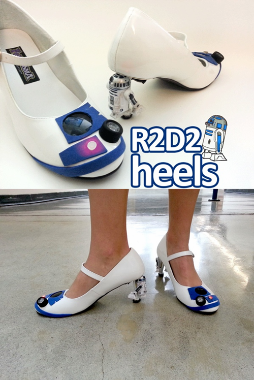 "Hey Star Wars fans. Check out these coolio kicks! We especially love the ""roller heel"" option. Takes ""Wheelies"" to a whole new level. You know our stance on high heels. They are great, as long as you don't walk in them. Have a great Friday Ivo and Shawn"