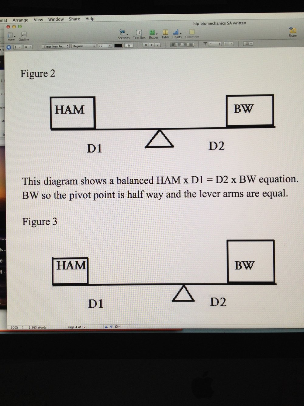Hip Biomechanics: Frontal Plane Part 3 This diagram (Figure 3)  also shows a balanced HAM x D1 = D2 x BW equation.  The BW is larger than the HAM but this is offset in the rules of the teeter-totter.  Shifting the pivot point towards the larger mass is offset by the smaller D2 and larger D1 moment arms.  This is a typical compensatory mechanism used by obese patients to ambulate effectively.  It does render significant frontal plane movement of the pelvis instead of the more desirable silent frontal plane pelvis.  In this compensation, even large body weights can be somewhat offset by the degree of contralateral hip hiking to reduce the D2 moment arm and increase the D1 moment arm however this compensation has its limits.  When the limits of alteration of moment arm length are reached the body's only compensation at that point is to increase the HAM forces which increases joint compression and thus cartilage wear since the cyclical loading and unloading of the cartilage is much less.  This is also the same mechanism used by patients with a osteoarthritic painful hip joint.  We are not referring to increasing BW, rather we are suggesting that to reduce pain the patient will want less joint compression and thus a reduced HAM.  To do this we want to increase the D1 moment arm. The only way other than surgery to achieve this increase in D1 is to take the existing body weight and shift it closer to the pivot point. Ideally you would want to lean so far over the affected painful hip as to get your body weight (BW) immediately over the pivot point. This is what is done with a walking cane in the opposite hand of the stance leg, to help lift the swing phase leg and pelvis and to push the body mass over the hip WITHOUT using more HAM (glute medius contraction generated compression, which would generate pain). This would effectively reduce D2 to nil and significantly increase D1 thus allowing HAM to be minimal; thus reducing painful joint compression.  (In teeter-totter verbiage, put the small child on the long part of the teeter-totter arm and you can move large forces with little effort at the pivot point.)