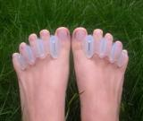 What are correct toes and do they work?    correct toes:https://nwfootankle.com/correct-toes    We are quite familiar with them. Do they work? That is the question!   They are pretty bulky but that could be a good thing, for some though they are just too bulky we have found. Some people are running in them……We think our friend Dr. Mark Cucuzzella does (naturalrunningcenter.com) .  We use them with clients to walk around the house barefoot and get   used to engaging toes with a flat press (not gripping…like those silly, flexor dominant promoting towel   scrunch exercises !)  So they MIGHT help someone retrain some muscles if used in this fashion but just wearing them does not produce magical results without some awareness use.    Keep in mind……forcing something doesn't make it so……… spreading the toes with an object such as these doesn't make them automatically go where they are supposed to.   Most   people need to relearn toe separation (actually abduction)…we do alot of that in our   offices….and then learn to bring the whole toe flat to the ground with a   good, firm toe press……..no grip/scrunch/hyperflexion.  The last thing we would ever want to do is overfacilitate the long toe flexors (flexor digitorum longus) because when we do, we inhibit other foot intrinsic muscles (ie. lumbricals).   The Gait Guys…promoting foot and gait literacy and helping you wade through the uncertainty.