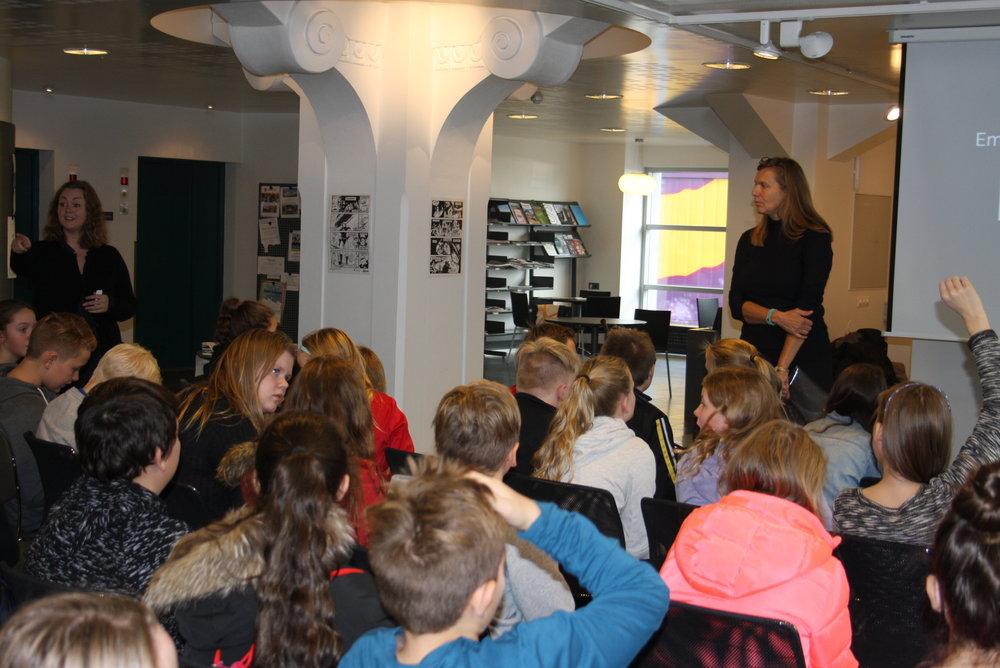 Snælandsskóli deltager i workshop med forfatter Camilla Hübbe og projektleder Asta Gylfadottir fra Reykjavik City Library i oktober 2017