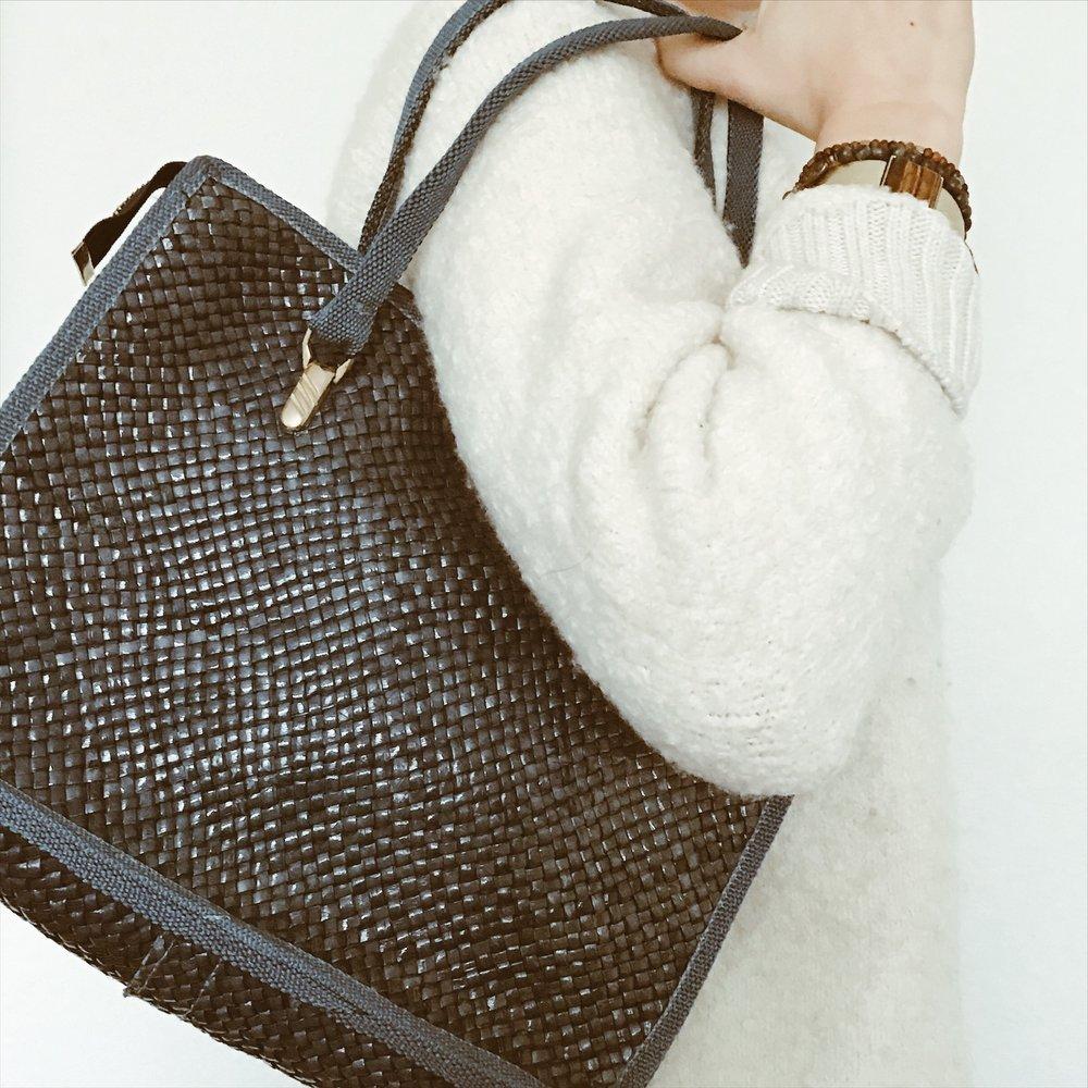 Vintage Blue Woven Handbag - 1970s | $36