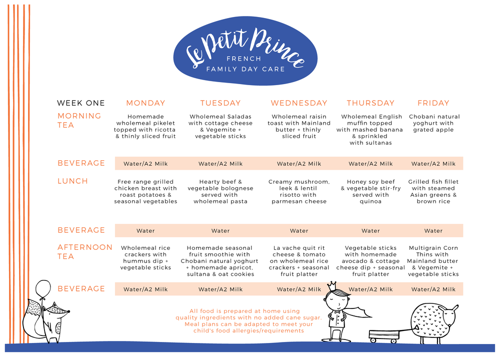 Week 1 of a 4 week roating menu. For the full meal plan please email lepetitprince.ffdc@gmail.com