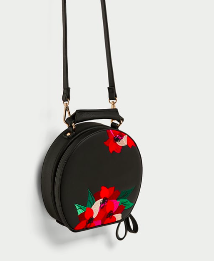 EMBROIDERED OVAL CITY BAG $29.99