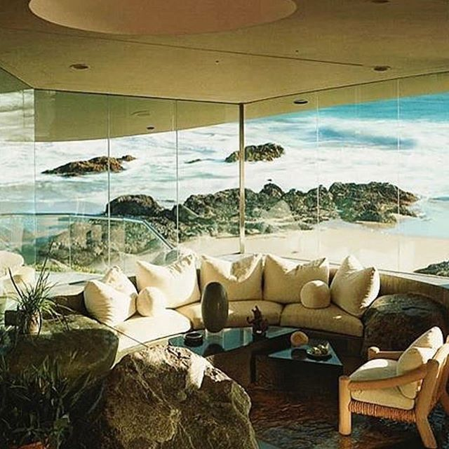 "Weekend vibes via @newagecocaine ""Beyer House by John Lautner. Interiors by Michael Taylor, 1983."