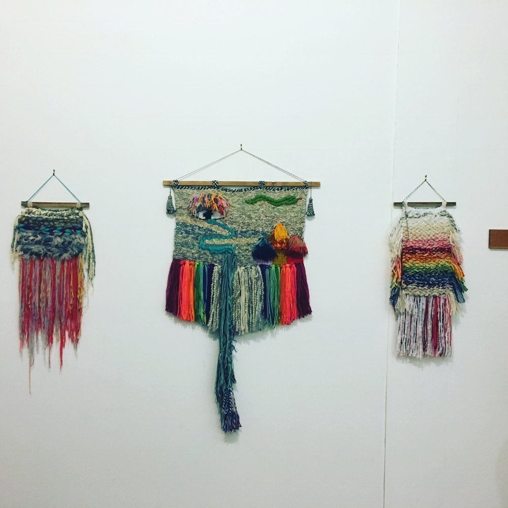 The exquisite weavings of CARDINAL POINT, aka Samantha Lamont.  If you know Sam, you know these pieces carry with them her distinctively jubilant creative energy...