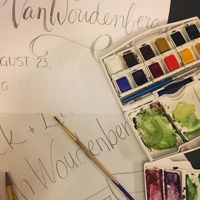 Happy way to spend an evening! 🎨  #watercolour  #handlettering #windsorandnewton paints