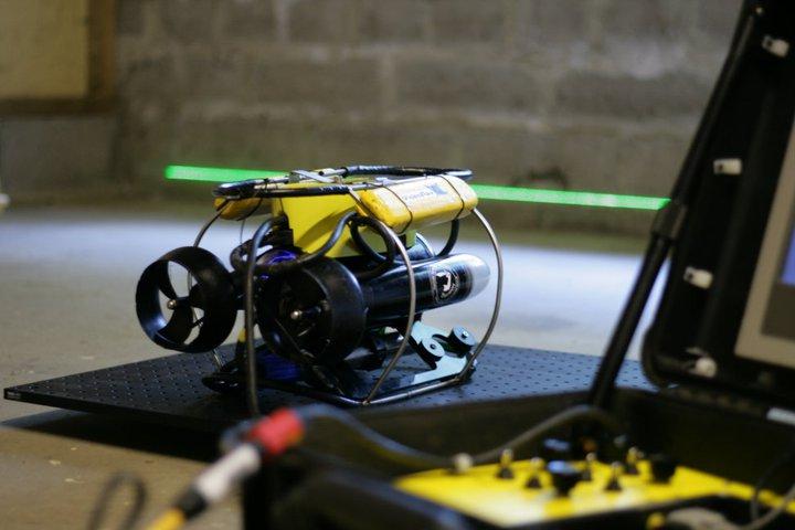 Savante Subsea's Lumeneye underwater laser module mounted on micro rov for platform inspections