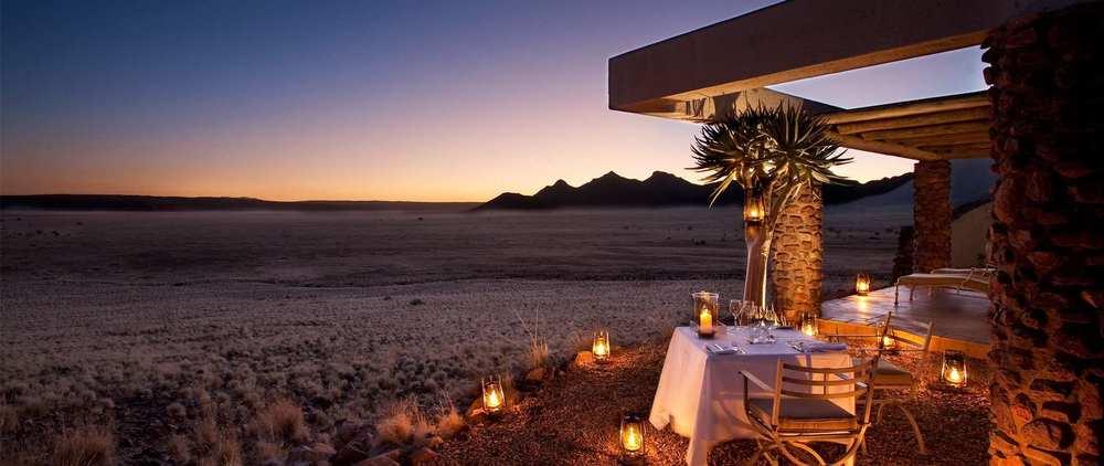 Dîner aux chandelles  Sossusvlei Desert Lodge