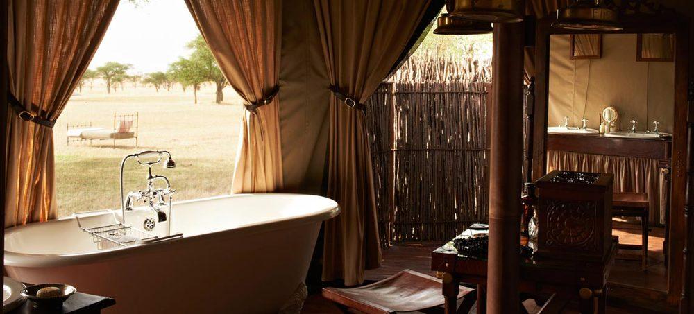 Vue de la Salle de bain Singita Sabora Tented Camp
