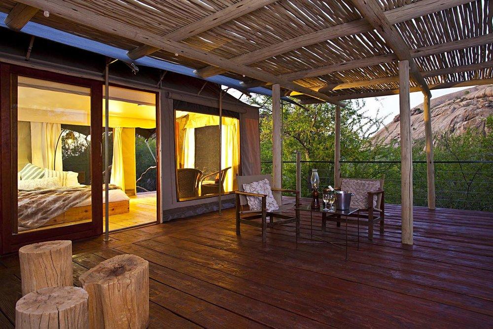 Vue chambre avec terrasse Erongo Wilderness Lodge