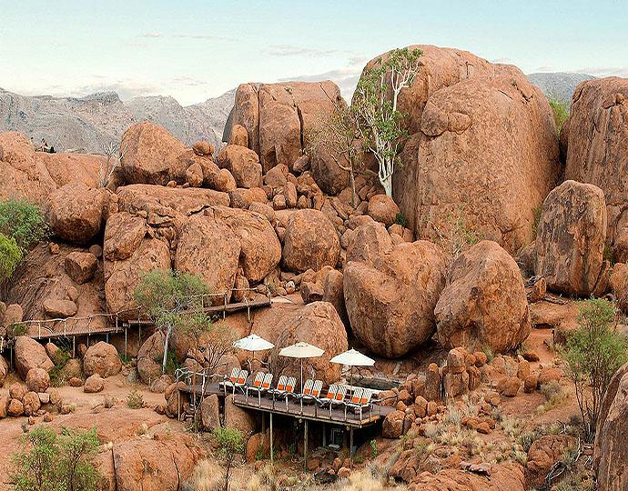 Terrasse dans Rochers Mowani Mountain Camp