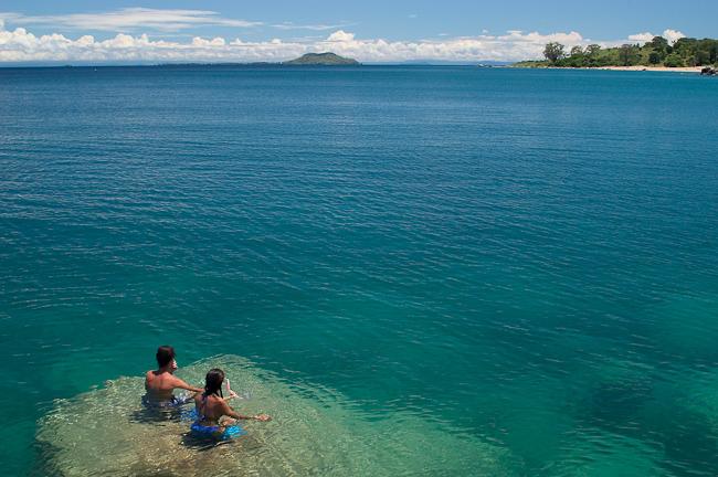 Banc de sable au milieu du lagon Kaya Mawa
