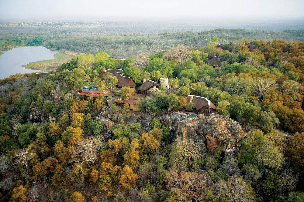 Vue aérienne de Singita Pamushana