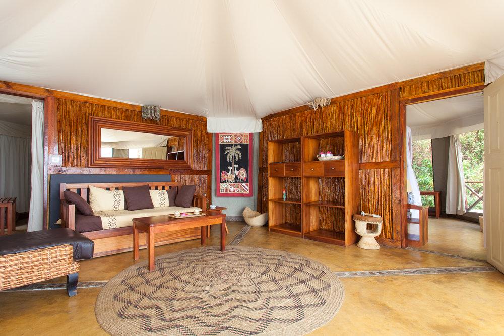 Intérieure chambre au Blue Zebra Island lodge