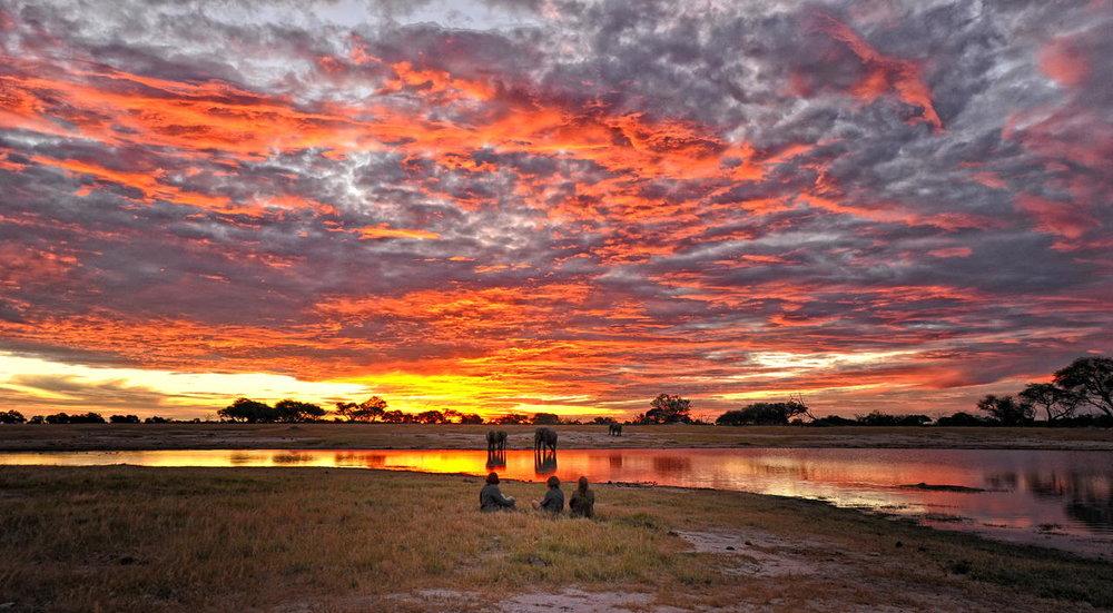 Safari Au Milieu des Eléphants - coucher de solei au Somalisa camp