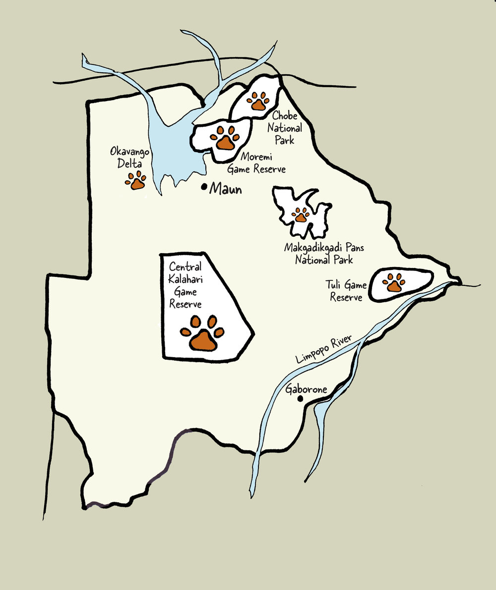 Carte du Botswana © www.afriquesurmesure.com Sàrl