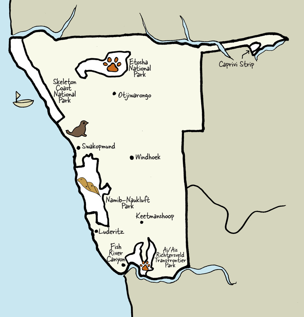 Carte de la Namibie © www.afriquesurmesure.com Sàrl