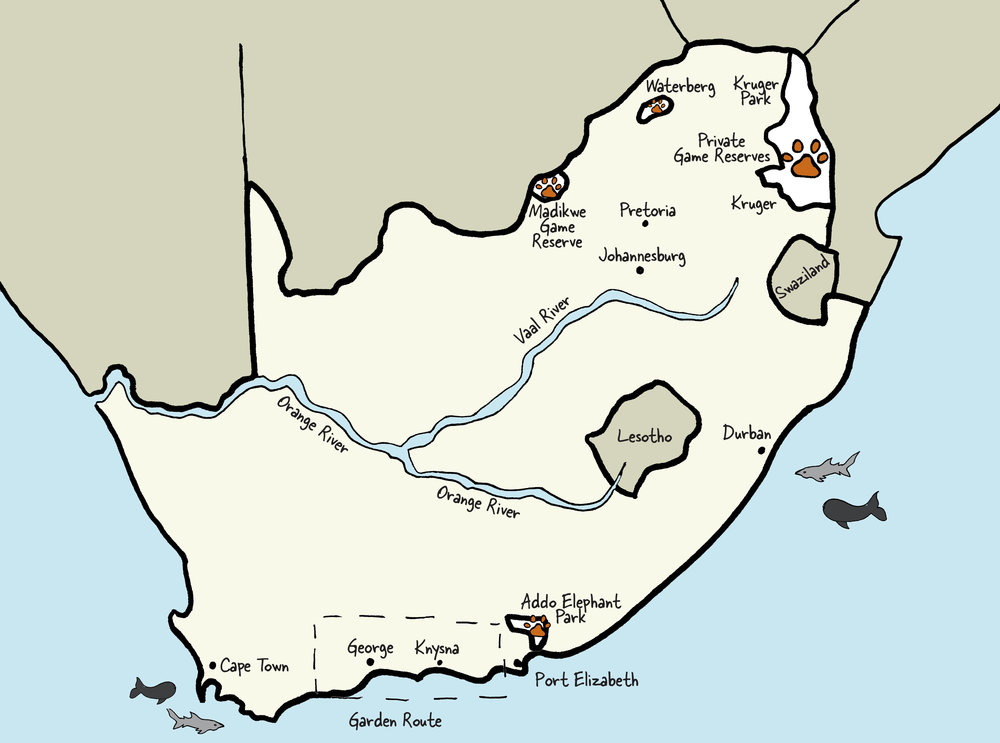 Carte de l'Afrique du Sud © www.afriquesurmesure.com Sàrl