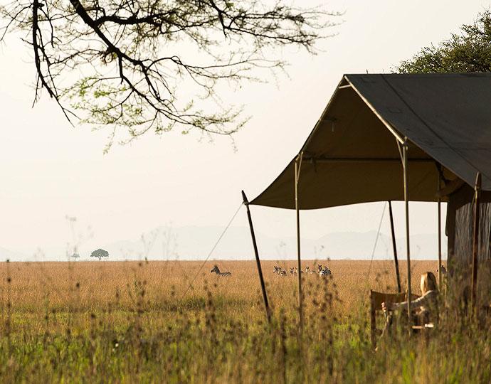 Vue tente du Serengeti Safari camp