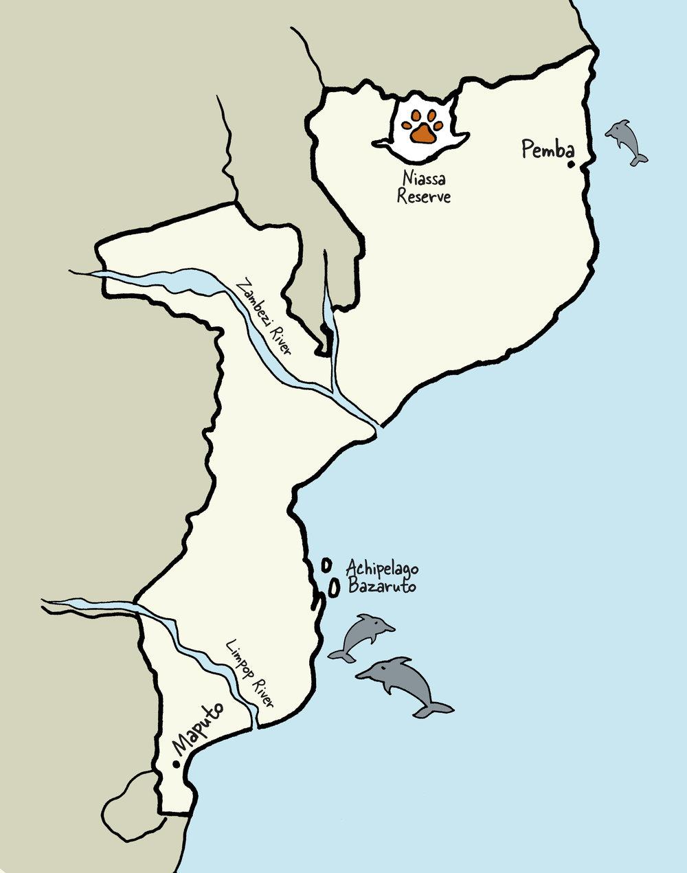 Carte du Mozambique © www.afriquesurmesure.com Sàrl