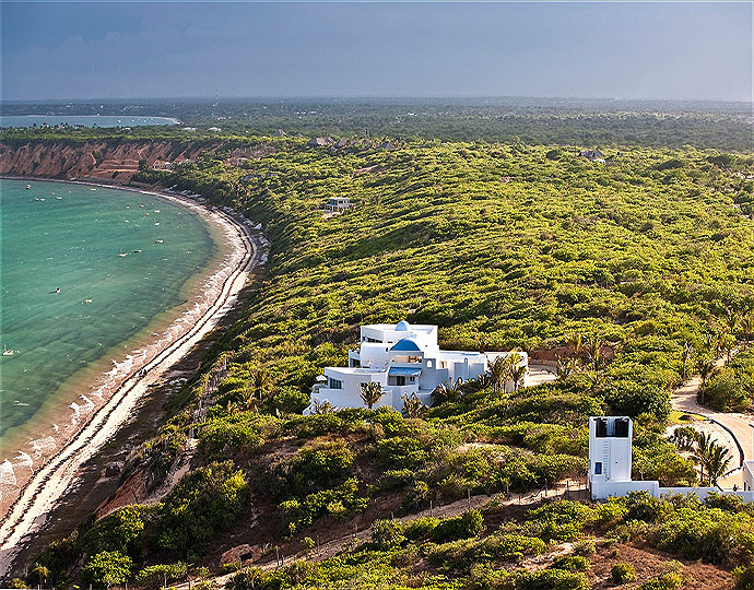 Vue carte postale de Santorini Mozambique