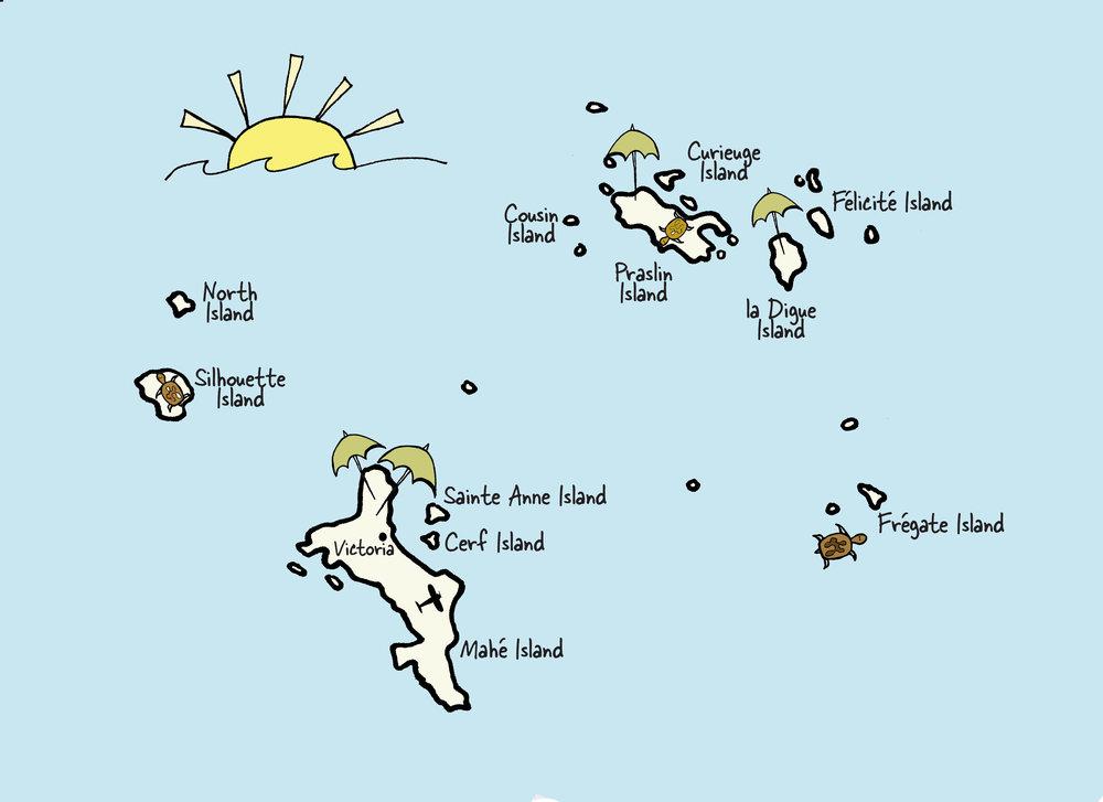 Carte des Seychelles © www.afriquesurmesure.com Sàrl