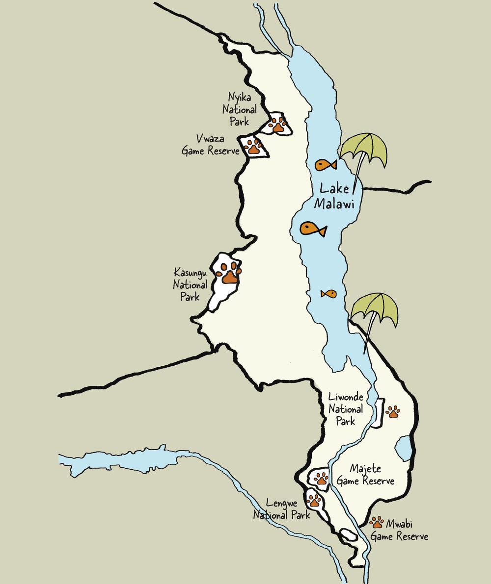 Carte du Malawi © www.afriquesurmesure.com Sàrl