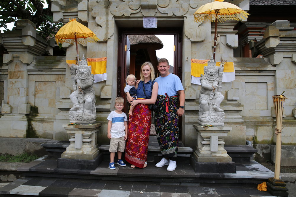 Visiting a temple in Ubud