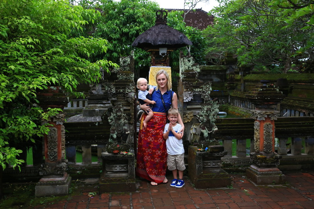 learning about the Balinese culture in a temple in Ubud