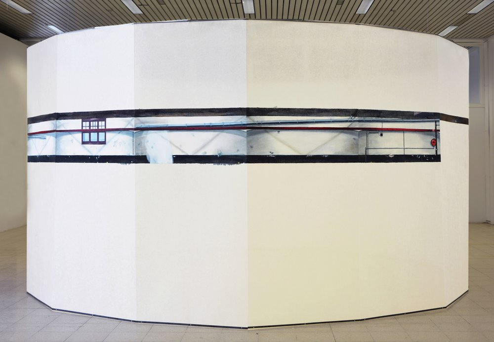 Panorama Parking , oil paint on fiberglass strips and metal, 250 x 500 cm diameter, 2015