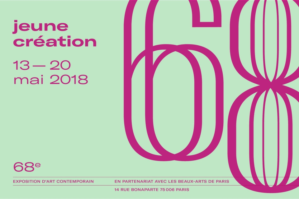 Selected among the 38 artists featuring for the 68th edition of Jeune Creation exhibition  Beaux-Arts de Paris, 14 rue Bonaparte, 75006 PARIS  Opening the 12th of May 2018, from 5pm to 9pm    More info:   https://www.jeunecreation.org/68e-edition-informations-generales/