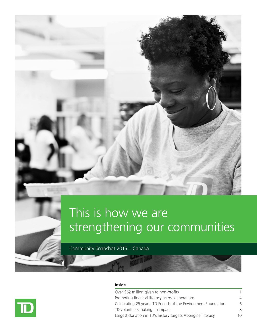 Cynthia Amoah on the cover of TD's 2015 Corporate Responsibility Snapshot Report