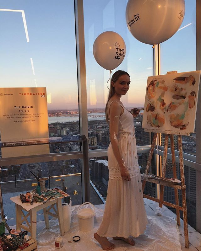 TBT to a lovely spring evening in #montréal with live painting by @zoeboivinstudio. . #timeraiser150 #timeraiser #canada150 #YUL #PlaceVilleMarie #partyforsocialgood #liveart #canadianartists #bidtimedogoodgetart