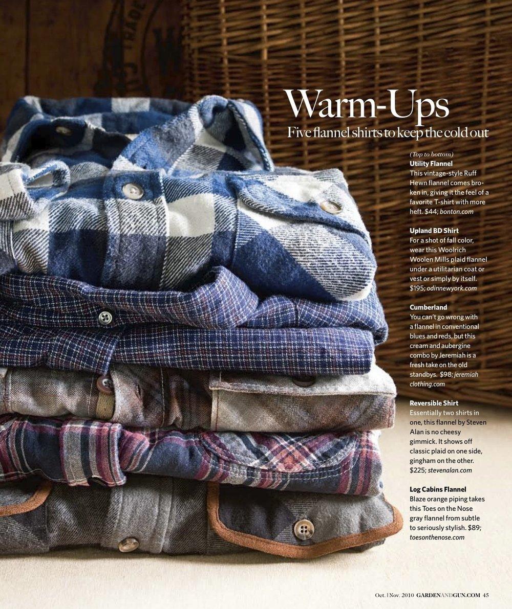 Garden & Gun Magazine: Flannel Shirt Stack
